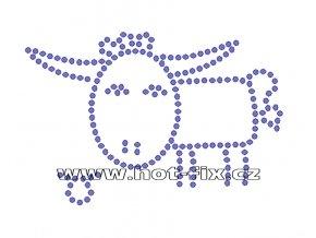 SZ003-02 - znamení zvěrokruhu Býk (21. 4.-21. 5.) hot-fix kamínkový potisk, rozměry cca 13,0x8,8cm