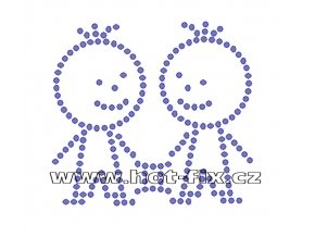 SZ003-03 - znamení zvěrokruhu Blíženci (22. 5.-21. 6.) hot-fix kamínkový potisk, rozměry cca 9,8x9,0cm