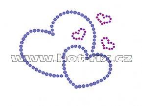 VAL004 - nažehlovací kamínkový potisk zamilovaná srdce, rozměry cca 8,7x7,2cm