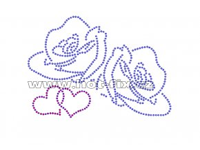 VAL008 - nažehlovací kamínkový potisk růže a srdce, rozměry cca 15,1x10,7cm