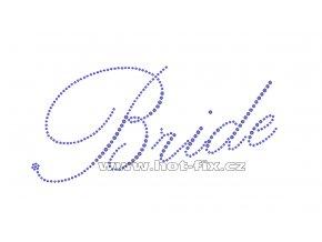 SVAT003-A - nažehlovací potisk z hot-fix kamenů pro nevěsty nápis Bride, rozměry cca 20,0x9,6cm