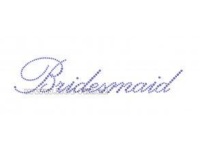 SVAT004-B - nažehlovací potisk z hot-fix kamenů pro družičku nevěsty nápis Bridesmaid, rozm. cca 24,3x5,2cm