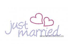 SVAT007 - Just married nažehlovací kamínkový potisk pro novomanžele, rozměry cca 20,0x8,5cm