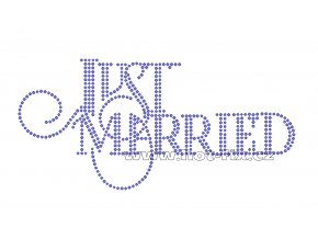 SVAT008 - Just married nažehlovací potisk z hot-fix kamenů pro novomanžele, rozměry cca 18,4x8,8cm