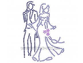 SVAT022 - nažehlovací hot-fix kamínková aplikace svatba-nevěsta a ženich, rozměry cca 7,9x11,2cm