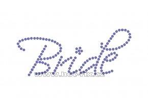 SVAT018-A - nažehlovací potisk z hot-fix kamenů pro nevěsty nápis Bride, rozměry cca 13,7x5,7cm