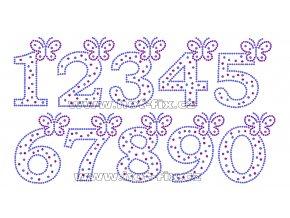 FC002 - číslice s motýlkem nažehlovací kamínkový potisk na textil, výška cca 8,8cm