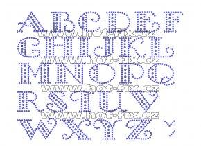 F003 - nažehlovací kamínkový potisk na textil písmena abecedy, výška cca 2,8cm