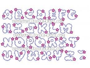 F009 - nažehlovací kamínkový potisk na textil písmena abecedy, výška cca 3,3cm