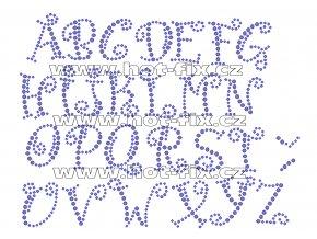 F010 - nažehlovací kamínkový potisk na textil písmena abecedy, výška cca 3,5cm