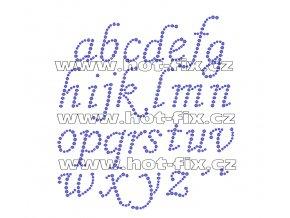 F011 - nažehlovací kamínkový potisk na textil písmena abecedy, výška cca 2,0-5,0cm