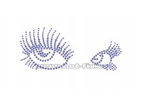 S001 - oči nažehlovací hot-fix kamínková aplikace na textil, rozměry cca 16,4x7,0cm