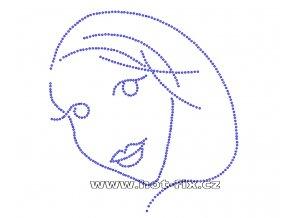 S028 - tvář hot-fix nažehlovací kamínkový potisk na textil, rozměry cca 16,5x17,5cm