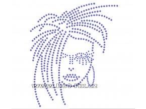 S029 - disco hlava hot-fix nažehlovací kamínkový potisk na textil, rozměry cca 15,2x18,0cm