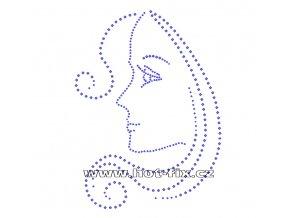S032 - obličej hot-fix nažehlovací kamínkový potisk na textil, rozměry cca 16,3x22,3cm