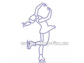C021 - krasobruslařka nažehlovací hot-fix kamínkový potisk na textil, rozměry cca 9,5x16,7cm