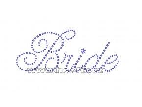 SVAT016 - Bride nažehlovací hot-fix kamínkový potisk pro nevěstu, rozměry cca 15,0x6,0cm
