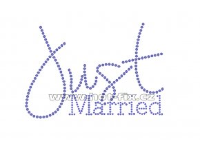 SVAT025-A - Just married nažehlovací kamínkový potisk pro novomanžele, rozměry cca 15,7x10,8cm