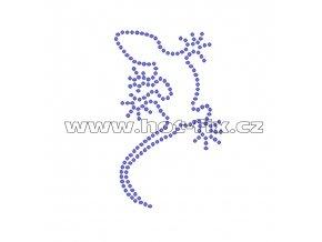 ZH008 - ještěrka nažehlovací potisk z hot-fix kamenů, rozměry cca 5,6x9,1cm