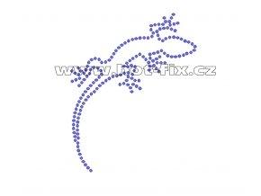 ZH009 - ještěrka nažehlovací potisk z hot-fix kamenů, rozměry cca 8,0x10,0cm
