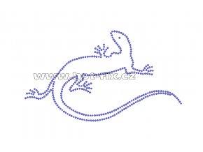 ZH010 - ještěrka nažehlovací potisk z hot-fix kamenů, rozměry cca 16,9x9,9cm