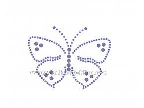 ZM015 - motýl nažehlovací potisk z hot-fix kamenů, rozměry cca 9,3x7,1cm