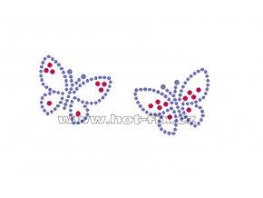 ZM017 - motýlci nažehlovací potisk z hot-fix kamínků, celkové rozměry cca 10,5x4,9cm