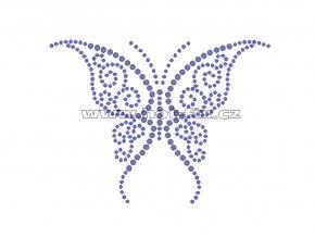 ZM020 - motýl nažehlovací potisk z hot-fix kamenů, rozměry cca 11,7x8,7cm