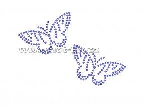 ZM024 - motýlci nažehlovací potisk z hot-fix kamenů, celkové rozměry cca 11,4x7,8cm