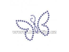 ZM025 - motýl nažehlovací hot-fix kamínková aplikace na textil, rozměry cca 6,5x5,9cm