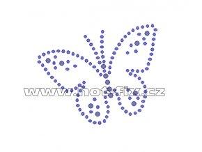 ZM028 - motýl nažehlovací potisk z hot-fix kamenů, rozměry cca 7,2x6,0cm
