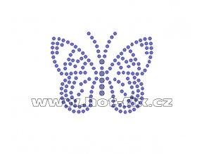 ZM037 - motýl nažehlovací potisk z hot-fix kamenů, rozměry cca 5,8x4,6cm