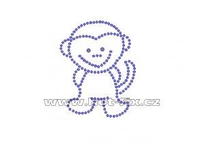 ZO001 - opice nažehlovací potisk z hot-fix kamenů, rozměry cca 5,6x7,1cm