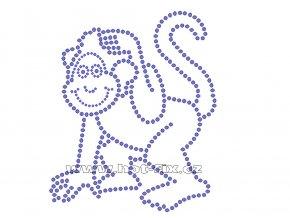ZO004 - opice nažehlovací potisk z hot-fix kamenů, rozměry cca 12,3x14,8cm