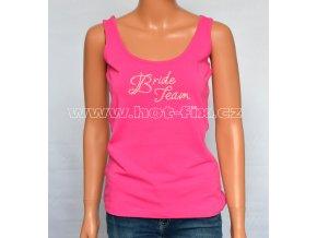 08-B-40-FTA136 Team Bride tričko s kamínky pro družičky a kamarádky nevěsty na předsvatební rozlučkovou párty se svobodou