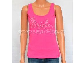 01-A Bride tričko s kamínky pro nevěstu na předsvatební párty, rozlučku se svobodou