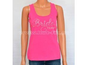 01-B Team Bride tričko s kamínky pro družičky a kamarádky nevěsty na předsvatební rozlučkovou párty se svobodou