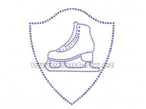 C123 - znak brusle nažehlovací hot-fix kamínkový potisk na textil, rozměry cca 13,6x15,6cm