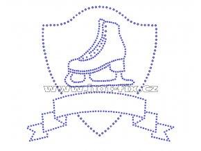 C124 - znak krasobruslení velký hot-fix nažehlovací potisk na textil, rozměry cca 28,3x26,2cm