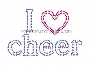 C119-A - I love cheer hot-fix kamínková aplikace na tričko, textil, rozměry cca 18,2x11,6cm