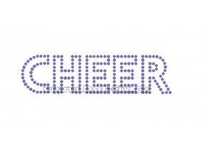 C125 - CHEER hot-fix kamínková nažehlovací aplikace na textil, rozměry cca 15,5x4,0cm