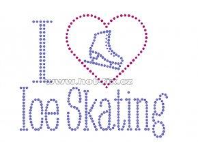 C101 - I love ice skating nažehlovací hot-fix kamínkový potisk, rozměry cca 18,7x15,5cm