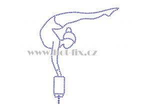 C098 gymnastka na kladině nažehlovací potisk na tričko, textil skleněné hot fix kamínky