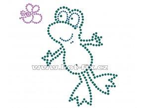 ZB002-A - žába nažehlovací hot-fix kamínkový potisk na textil, rozměry cca 13,0x13,7cm