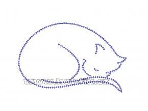 ZA006-B - spící kočka malá nažehlovací potisk z hot-fix kamenů na tričko, textil, cca rozměry 14,0x9,0cm