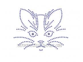 ZA008 - hlava kočky hot-fix nažehlovací kamínkový potisk na tričko, textil, cca rozměry 10,5x8,3cm