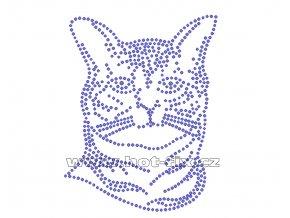 ZA013 - kočka nažehlovací hot-fix kamínková aplikace na textil, rozměry cca 10,0x13,0cm