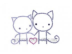 ZA014 - zamilované kočky nažehlovací hot-fix kamínkový potisk na textil, rozměry cca 12,0x8,5cm