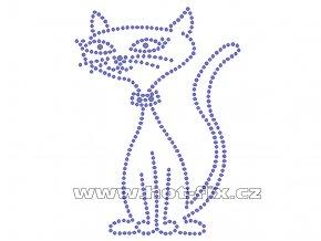 ZA011 - kočka hot-fix nažehlovací kamínková aplikace na tričko, textil, cca rozměry 8,9x12,3cm
