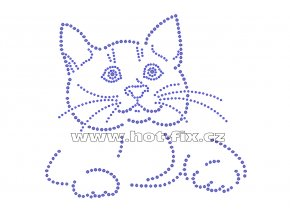 ZA022 - ležící kočka hot-fix nažehlovací kamínková aplikace na tričko, textil, cca rozměry 19,2x17,5cm